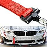 iJDMTOY (1) Track Racing Style Tow Hook w/ Red Towing Strap For BMW 1 3 5 Series X5 X6 & MINI Cooper (E36 E39 E46 E82 E90 E91 E92 E93 E70 E71 R50 R51 R52 R53 R55 R56 R57 R58 R59)