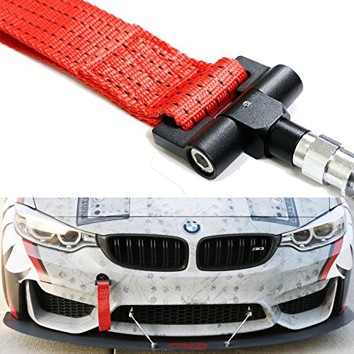 - iJDMTOY (1) Track Racing Style Tow Hook w/ Red Towing Strap For BMW 1 3 5 Series X5 X6 & MINI Cooper (E36 E39 E46 E82 E90 E91 E92 E93 E70 E71 R50 R51 R52 R53 R55 R56 R57 R58 R59)
