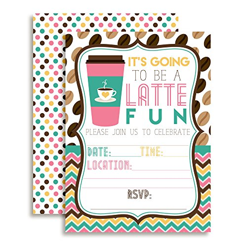 """Latte Fun Pink and Aqua Coffee Birthday Party Invitations, 20 5""""x7"""" Fill in Cards with Twenty White Envelopes by AmandaCreation"""