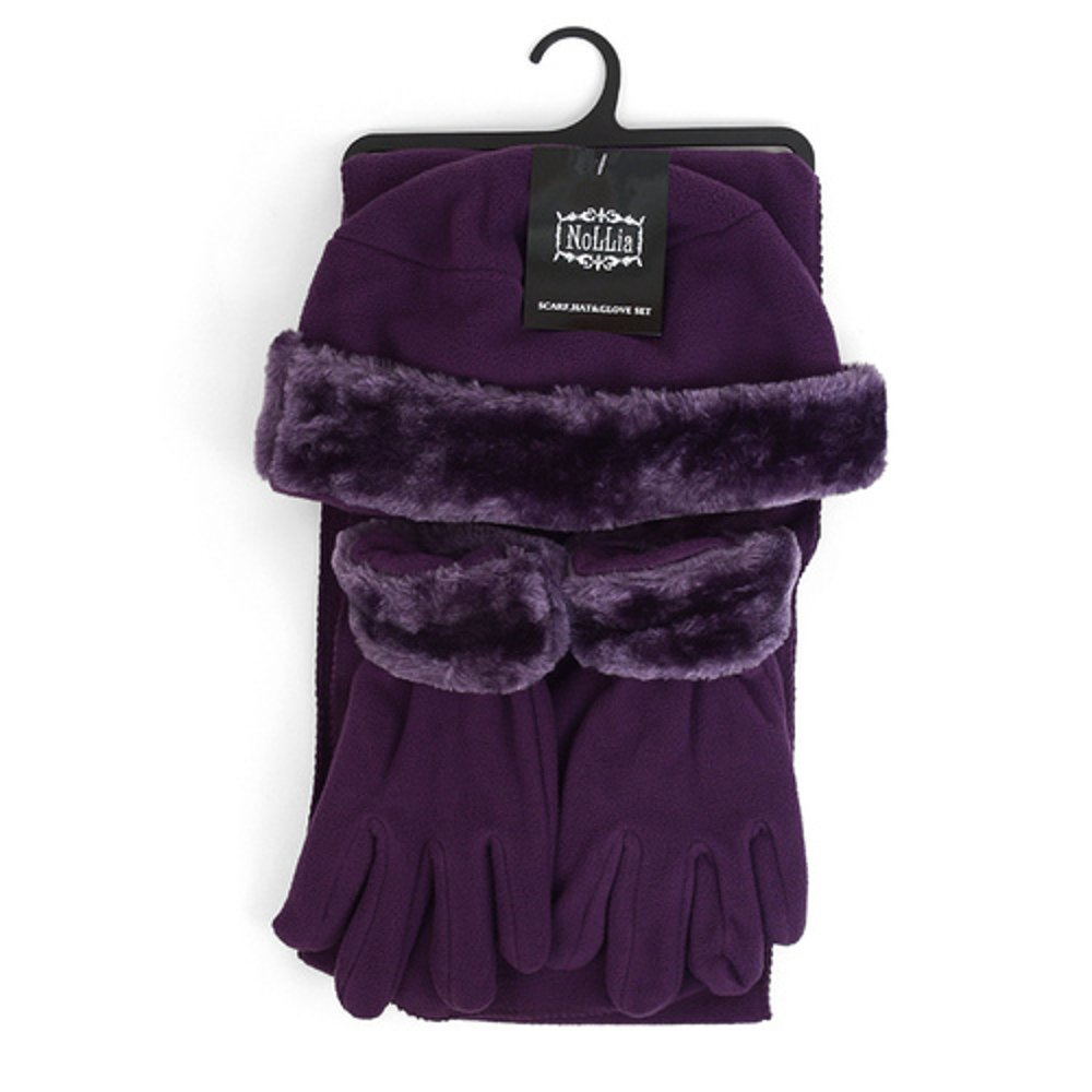 Women's 3 PC Cloche Faux Fur Trim Fleece Hat Scarf & Gloves Winter Set (Purple)