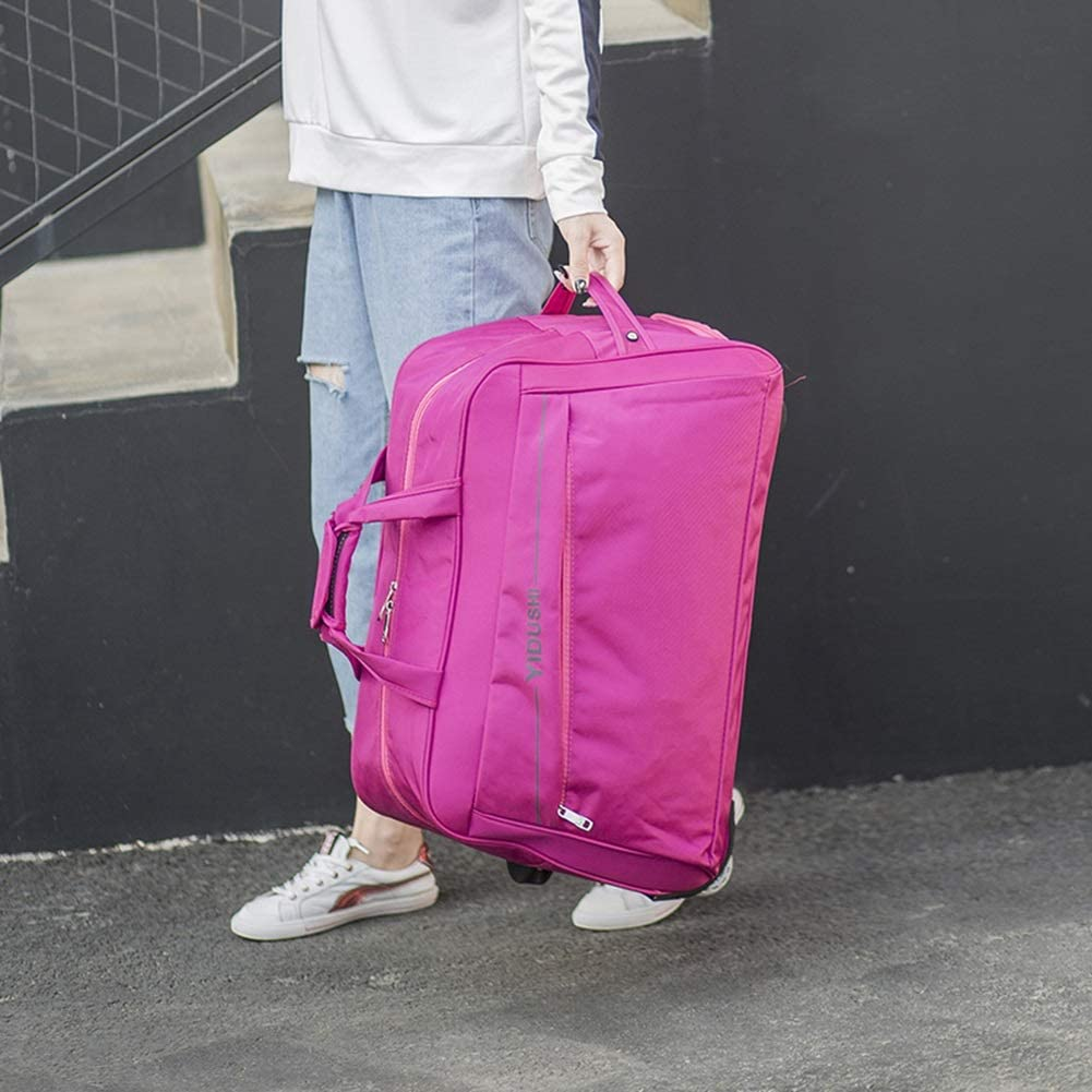 Color : Pink, Size : 472632 Travel Bags Trolley Case fold Boarding 2 Rounds Oxford Cloth Luggage Suitcases Carry On Hand Luggage Durable Hold Tingting
