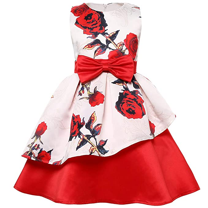 41be95c81 Amazon.com: Childrens Irregular dress Printed Princess Dress Flower ...