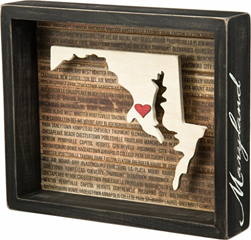 Maryland State Shape Box Sign Primitives by Kathy