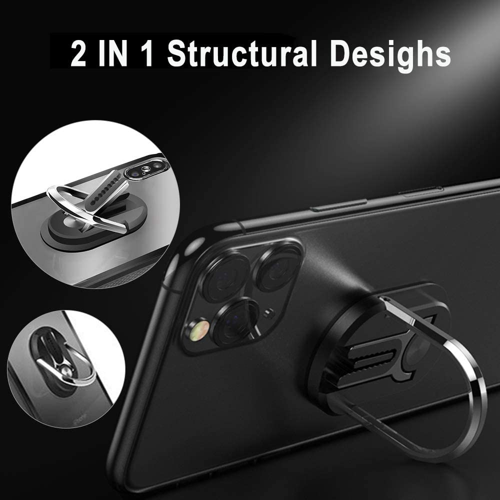 Multiple-Angle Car Phone Mount SIHUAN Mobile Phone Bracket Phone Ring Holder-Two in ONE Multipurpose Mobile Phone Bracket Holder Stand 360 Degree Rotation for Car Home Black