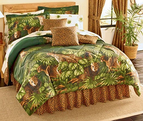 Safari CHEETAH LEOPARD CATS Comforter & Sheet Set With Palm Leaf Foliage (8pc Full Size (76