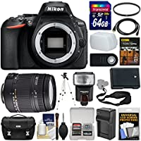 Nikon D5600 Wi-Fi Digital SLR Camera Body with Sigma 18-250mm Lens + 64GB Card + Case + Flash + Battery & Charger + Tripod Kit
