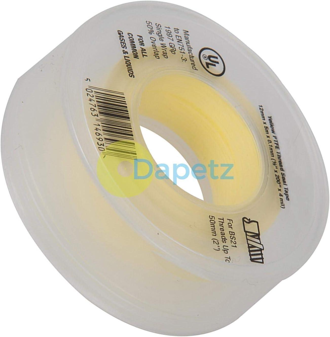 Dapetz /® 1 Roll 12mm x 5m Gas Yellow Plumbers PTFE Thread Seal Tape Plumbing Joint