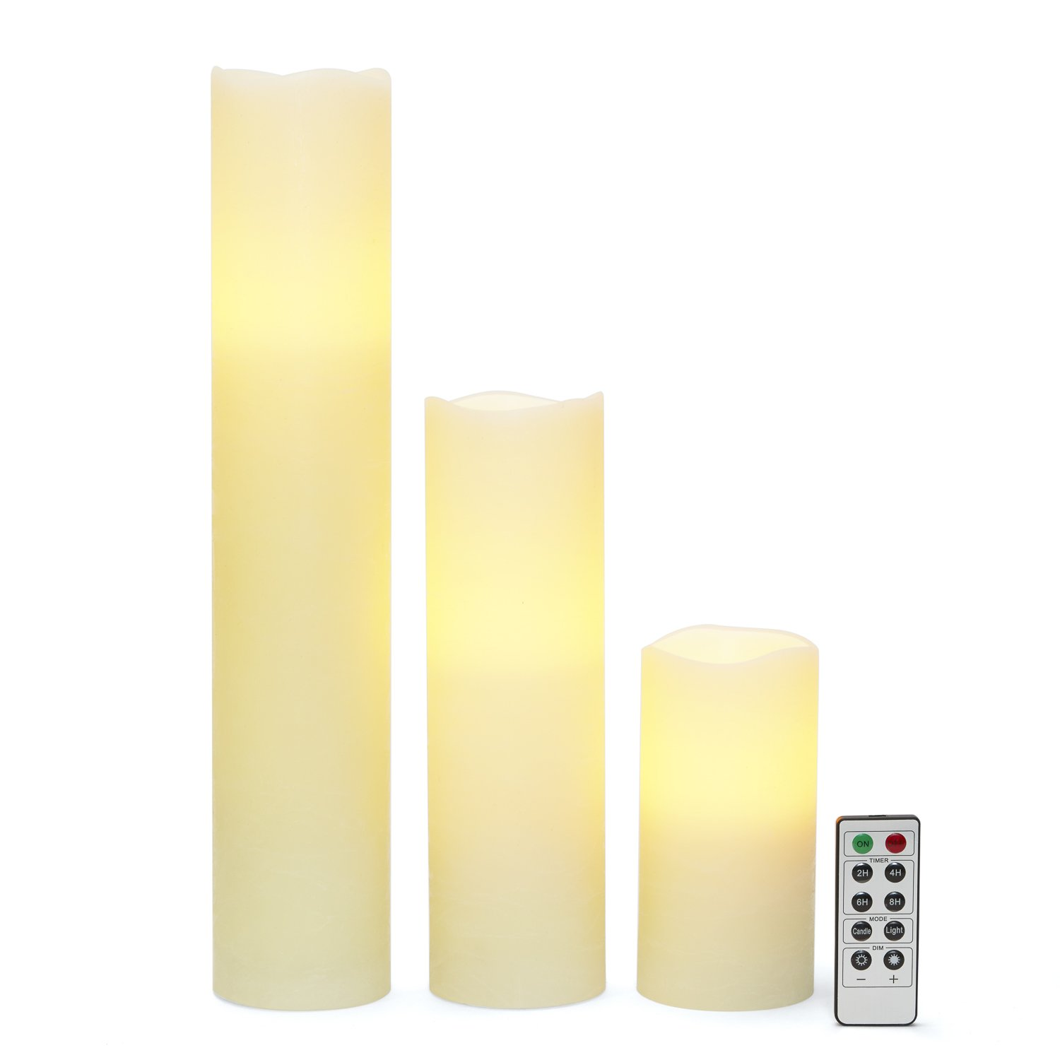Flameless Ivory Pillar Candles with Remote, Tall Candle Set with Distressed Wax Finish, Warm White Glowing LEDs, Batteries Included - Set of 3