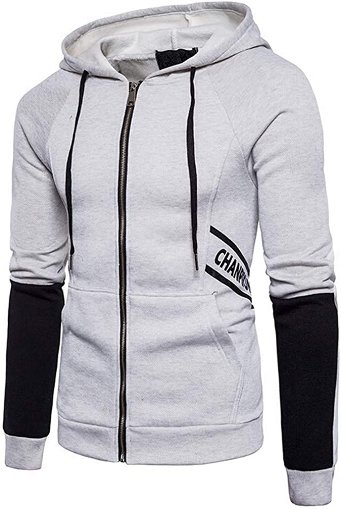 Apparel Sport Outwear,Mens Letter Print Casual Sports Hooded Cardigan Long Sleeve Sweatshirt for Men Teen Boys