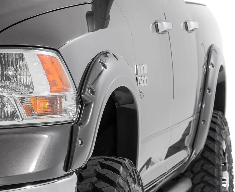 fits Rough Country Painted Pocket Fender Flares Silver Metallic 2009-2018 RAM Truck 1500 FD10911PS2
