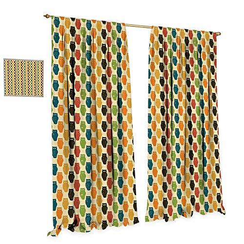 cobeDecor Owls Window Curtain Drape Retro Styled Colorful