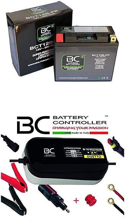 BC Lithium Batteries BCT12B-FP Batería Moto de Litio + BC Duetto con Adaptador para Toma Encendedor, Mantenedor de Carga para Litio y Plomo/Ácido [Bundle Pack]: Amazon.es: Coche y moto