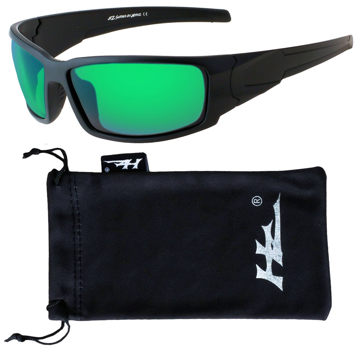 HZ Series Aquabull - Premium Polarized Sunglasses by Hornz – Matte Black Frame – Emerald Green Lens by Hornz