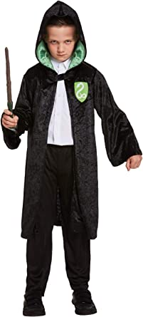 Childs Kids Wizard Cloak /& Hat Fancy Dress Costume Halloween Book Day Outfit