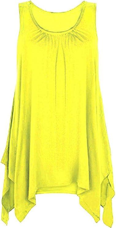 Camiseta Ancha de Estilo túnica para Mujer - Sin Mangas - Dobladillo asimétrico: Amazon.es: Ropa y accesorios