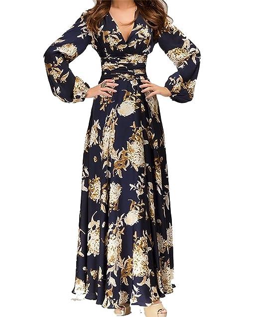 6f176baeb7 Hosaire 1X Vintage Donna Scollo a V Floreale Pizzo Gonne Lunghe Eleganti  Abito da Sera Vestito,Blu