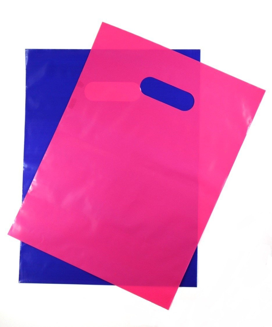 200 Pink and Purple 1.5Mil, 9'' x 12'' Extra Thick Glossy plastic Retail Merchandise Bags with Die Cut Handles,No Gusset- perfect Thank you bags for Customers,Shopping,Gifts and Tradeshows