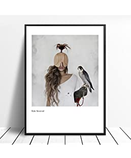 Aland Nordic Masked Women Bird Painting Decorative Picture Home Wall Art Decor Posters 40cm x 50cm