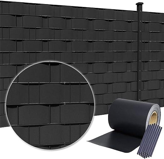 HENGMEI 35m x 19cm PVC Valla Tiras de Protectora de privacidad Pantalla Proteción visual jardín terraza, antracita: Amazon.es: Jardín