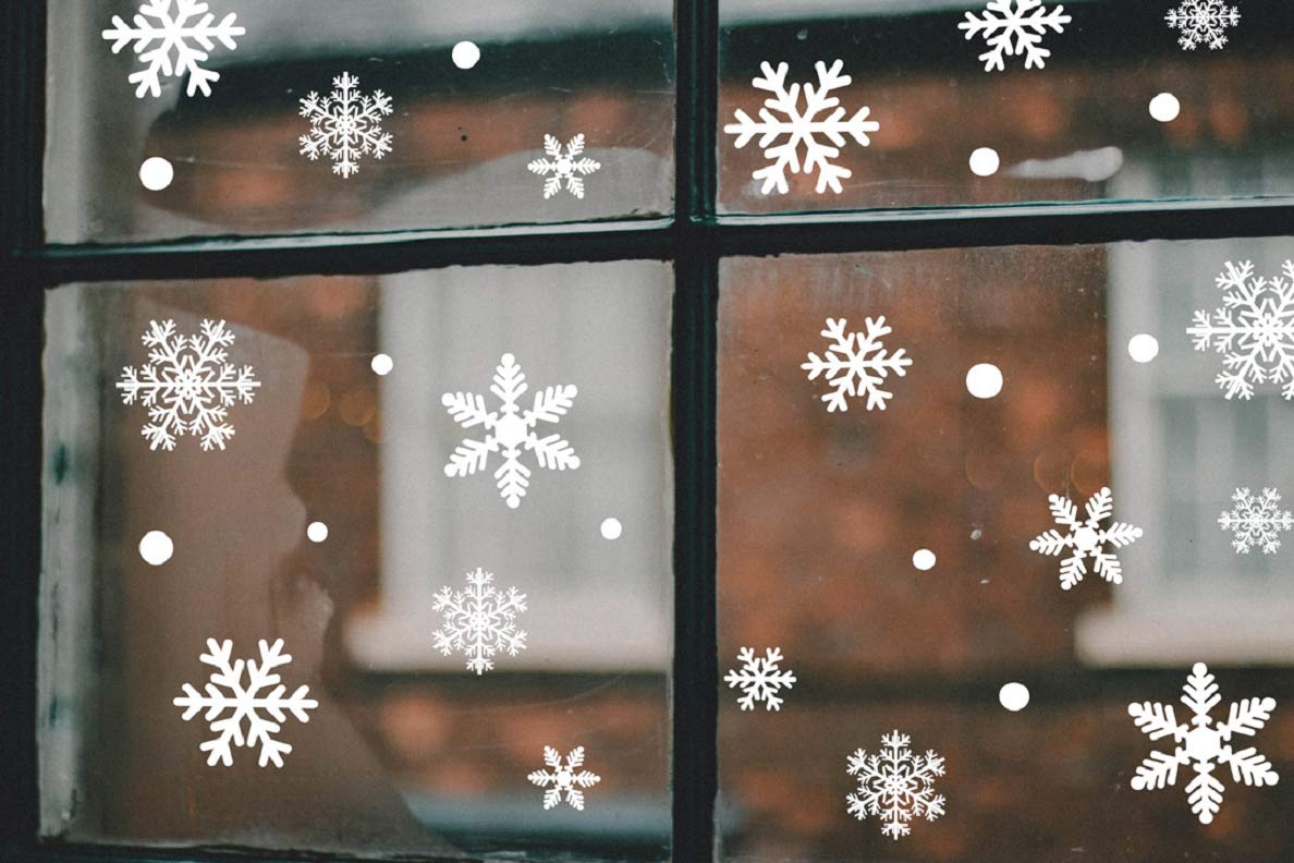 Likela 135 White Snowflakes Christmas Window Decoration Static Stickers Clings Decal Snowflakes Stickers snowflakes