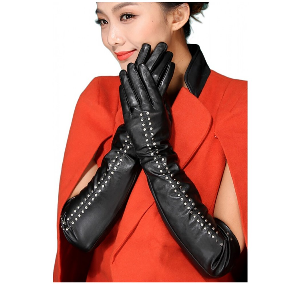 Glamorstar Women's 50cm Long PU Leather Winter Touch Screen Rivet Gloves Black