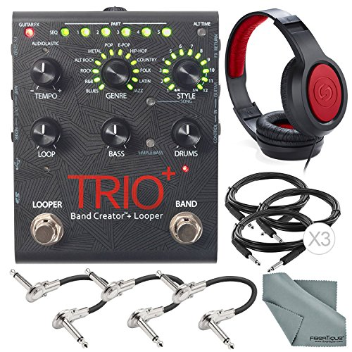 Digitech TRIO+ Band Creator and Built-In Looper and Accessory Bundle w/ Closed-Back Headphones + Cables + Fibertique Cloth