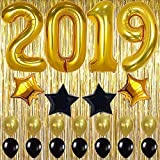 2019 Balloons Gold Decorations Banner – Large, Pack of 23   Black and Gold Star Mylar Foil and Latex Ballon, Metallic Gold Fringe Curtain   Great for Graduations Party Supplies, New Years Eve Backdrop