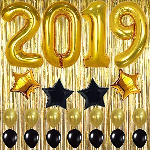 2019 Balloons Gold Decorations Banner - Large, Pack of 23 | Black and Gold Star Mylar Foil and Latex Ballon, Metallic Gold Fringe Curtain | Great for Graduations Party Supplies, New Years Eve Backdrop