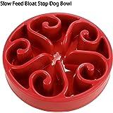 Slow Feeder Dog Bowl, Non Slip Puzzle Bowl Fun Feeder Interactive Bloat Stop Dog Bowl, Eco-Friendly Durable Non-Toxic dog food bowl (RED)