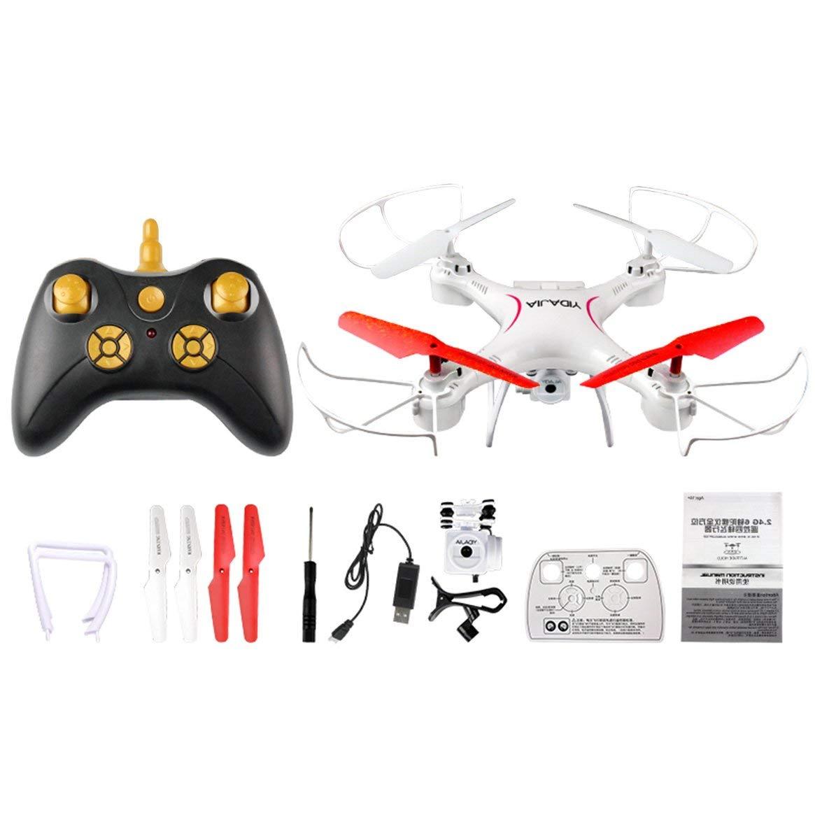 D66WG-YW WIFI FPV Faltender RC-Drohne mit 0.3MP-Kamera 2.4g 6-Achsen-ferngesteuerter Hubschrauber mit fester Höhe Drone Quadcopter Toy - Weiß & ROT