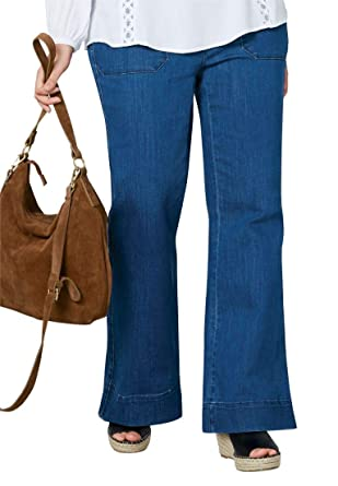 f2395593a77 Ellos Women s Plus Size High-Waist Wide Leg Jeans at Amazon Women s ...