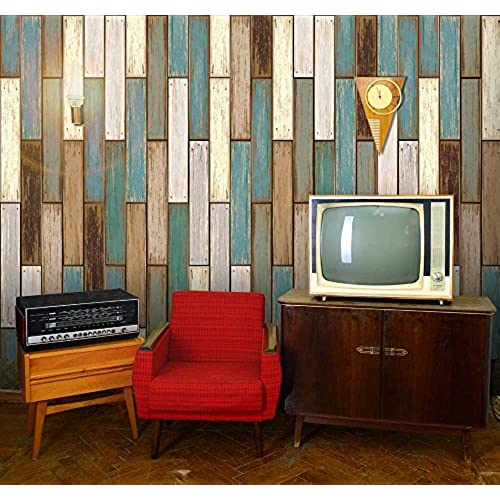 Wall26   Vertical Retro Earthy Colored Wood Textured Paneling Pattern    Wall Mural, Removable Wallpaper, Home Decor   66x96 Inches
