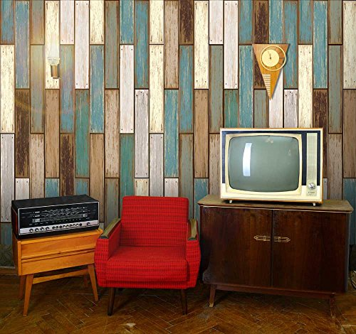 Vertical retro earthy colored wood textured paneling for Removable wallpaper wood paneling