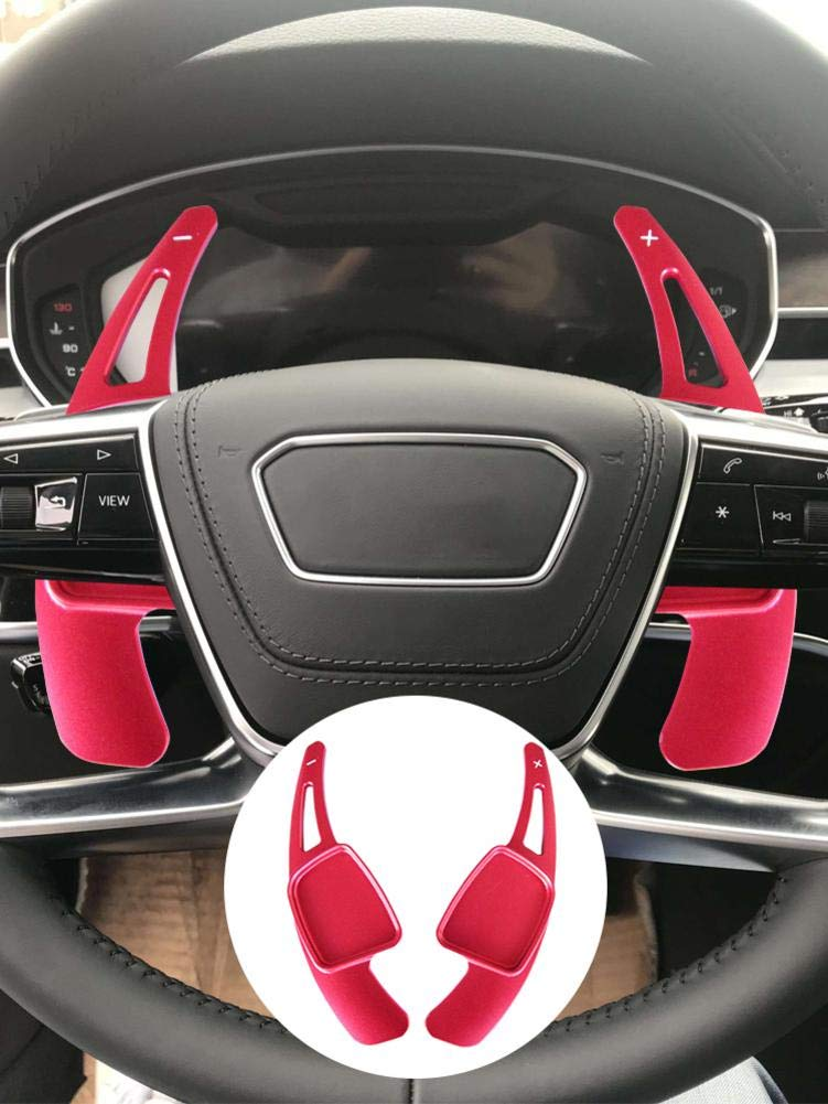 LEEaccessory Steering Wheel Shift Paddle Shifter Transfer Extension Interior Trim Cover for Audi A3 A4L A5 A6L A7 A8L S3 S5 S6 S7 S8 SQ5 RS3 RS6 R8 Q3 Q5 Q7 TT TTS red//2pcs Magnificent