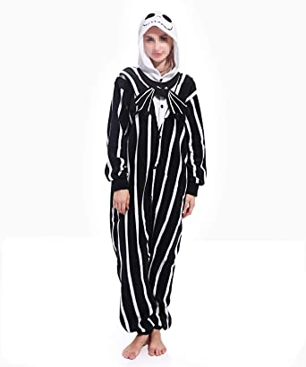 cb6eaeddae Lazutom Women Men Unisex Animal Cosplay Pajamas Outfit Onesie Christmas  Party Costume Pajamas (Jack Skellington