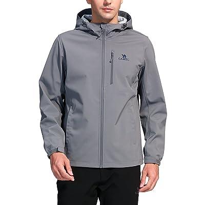 Camel Men's Outdoor Softshell Jackets Front-Zip Windproof Fleece Jacket With Hood