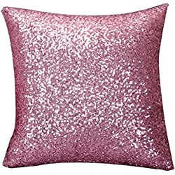 "Ikevan Solid Color Glitter Sequins Throw Pillow Case Cafe Home Decor Cushion Covers (15.7415.74"") (Pink)"