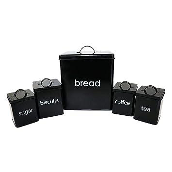 Generic Ea Set Bread T Brea Storage Tin T Bread Bi NEW! 5pc Black Torage