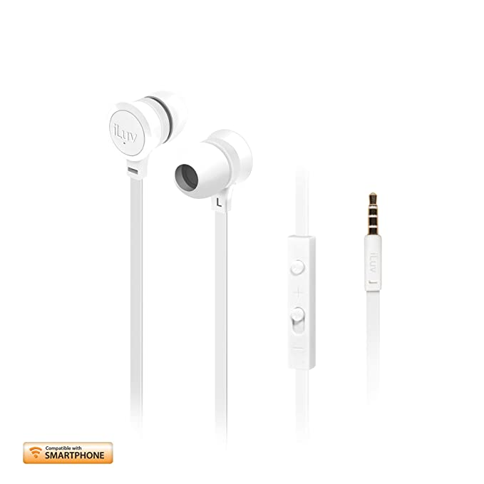 iLuv IEP336WHT Neon Sound High-Performance Earphone with SpeakEZ Remote for Kindle Tablets and Smartphones White Mobile Phone Wired Headsets at amazon