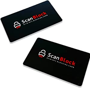 ScanBlock RFID Blocking Card | Credit and Debit Card Protector | Shield Your Wallet, Purse, Passport and More from RFID/NFC Skimming | 2 RFID Security Cards Included