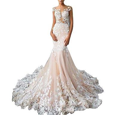 TBNA Bridal Lace Applique Mermaid Bridal Dresses Wedding Gowns at ...