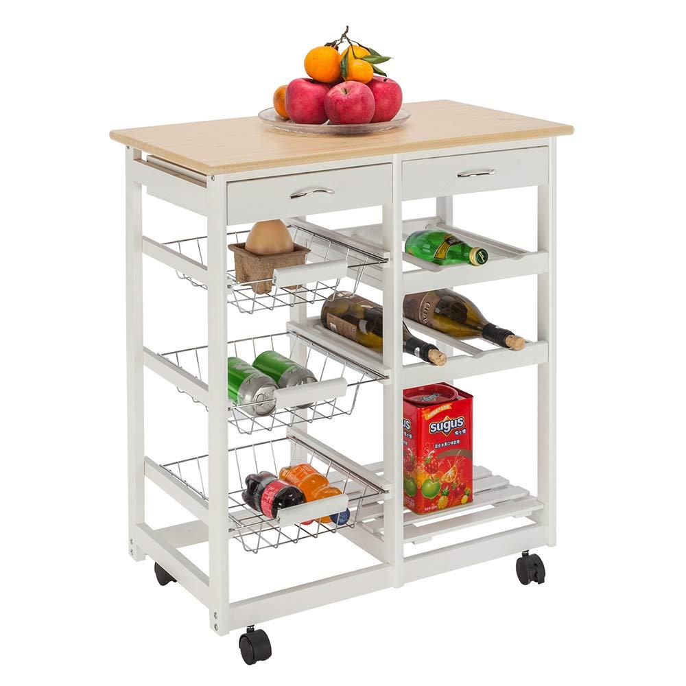 HOBBYN Kitchen Trolley Cart,Rolling Storage Cabinet Wooden Table Multi-Function Island Cart Kitchen Truck