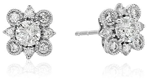 10K White Gold Square Diamond Stud Earrings (1/2cttw)