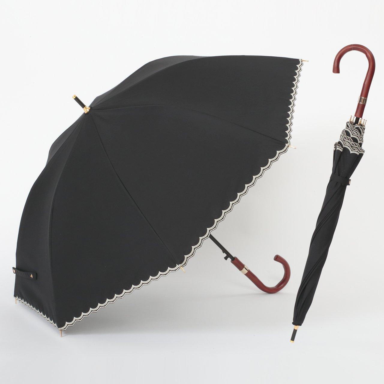 UV遮熱遮光ジャンプ傘 スカラップ ブラック 晴雨兼用 遮光1級 日傘 【LIEBEN-1517】 クールプラス B01DZNFXYQ