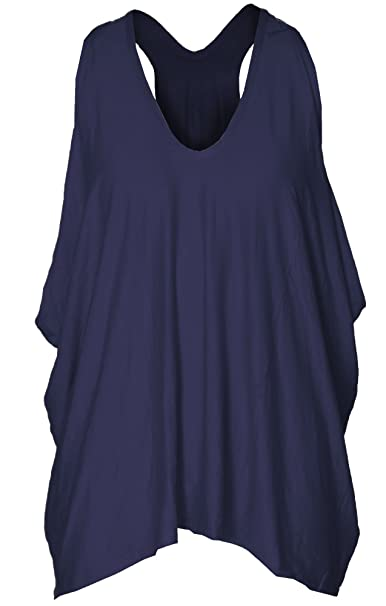 d03ecb3e943 Womens Ladies Racer Back Baggy Lagenlook Vest Top Oversize Loose Hanky Hem  Cami Strappy Casual Plus Size  Amazon.co.uk  Clothing