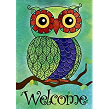 JoyPlus Welcome Owl Spring Garden Flag - Vertical Double Sided Spring Decorative Rustic/Farm House Small Decor Flags Set for Indoor & Outdoor Decoration, 12 X 18 Inch by