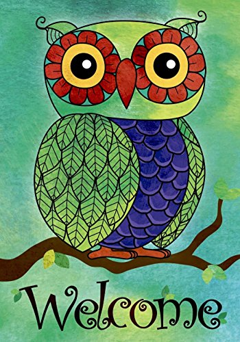 JoyPlus Welcome Owl Spring Garden Flag - Vertical Double Sid