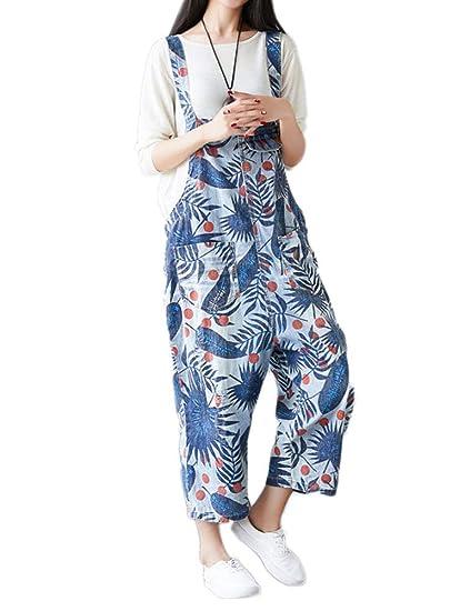 watch fashion best Idopy Combinaisons de Jambes Larges lâche Baggy Denim Femmes ...
