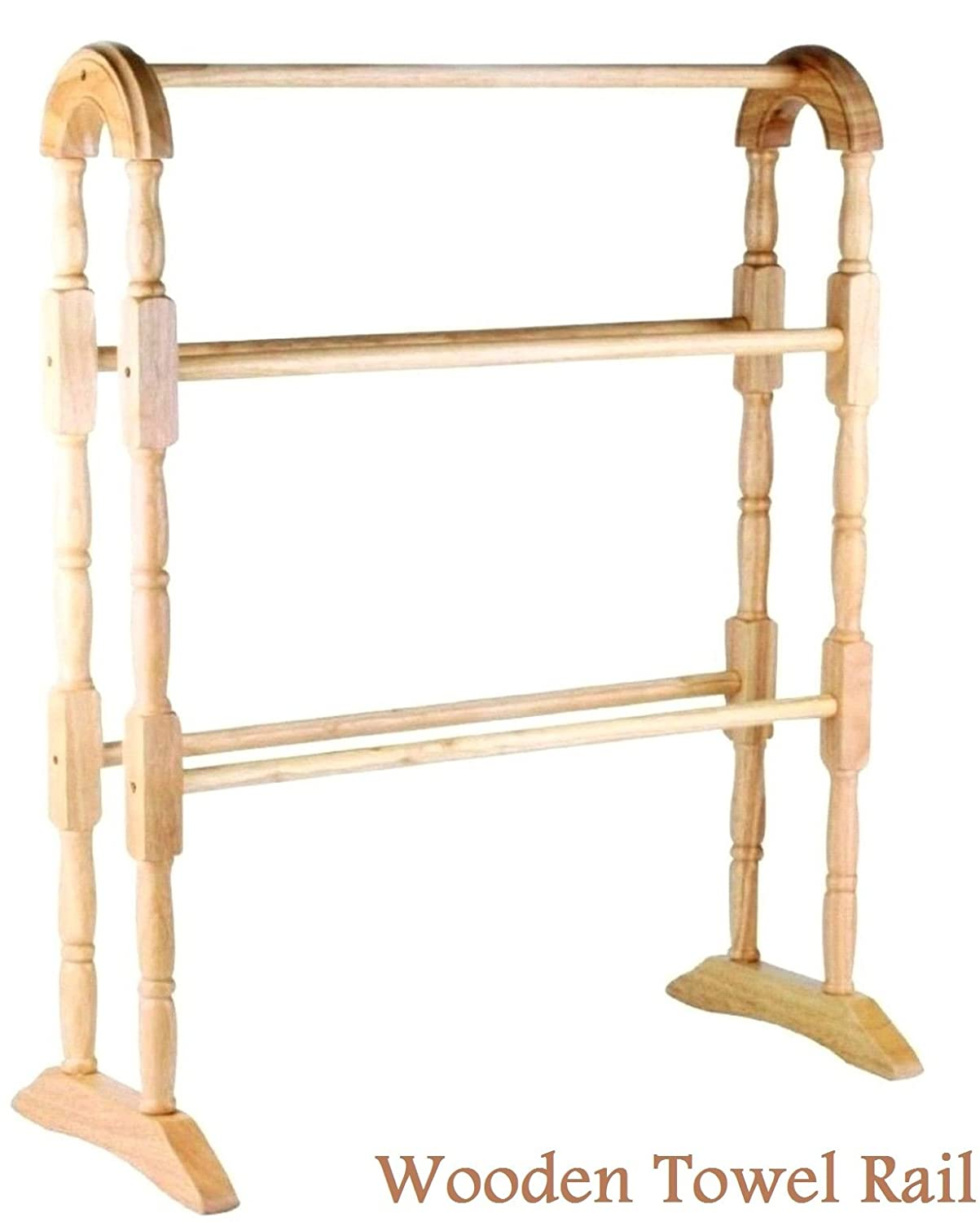 Apollo Bathroom Wooden Free Standing Towel Rail Rack Hanger Traditional Natural Wilsons Direct