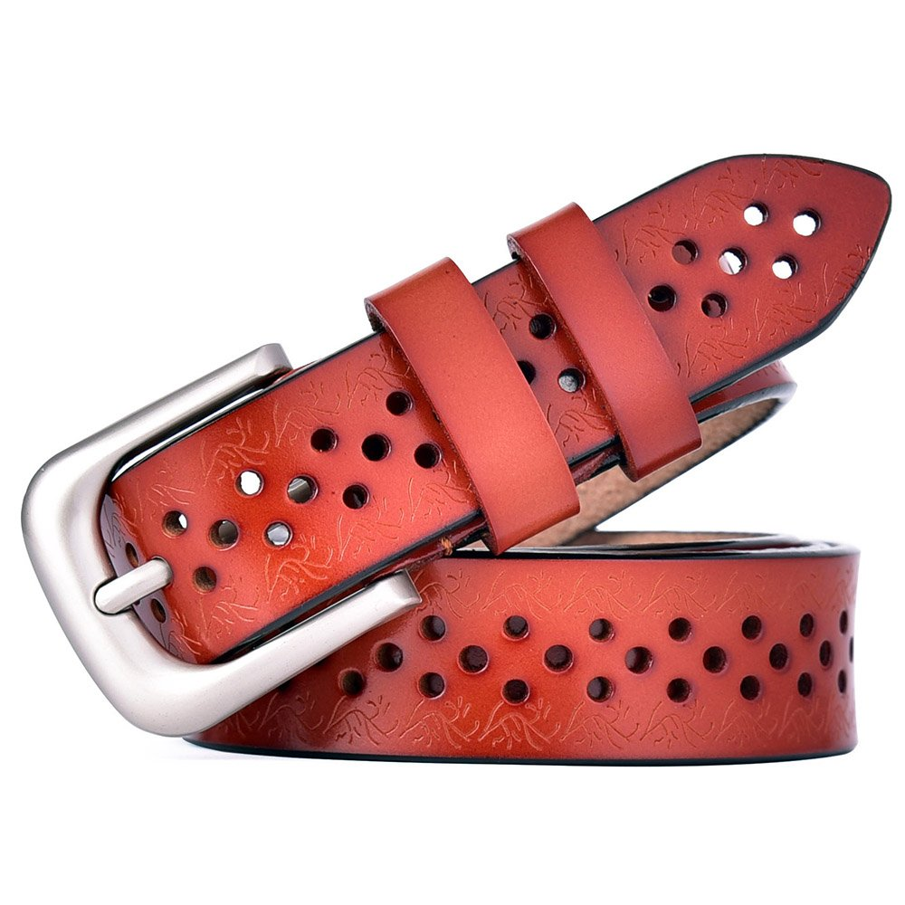 Brown 12 Talleffort Women's Flower Genuine Cowhide Leather Jeans Belts